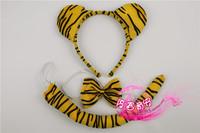 Cartoon headband child hair bands animal piece set hair accessory tiger headband bow tie tiger piece set