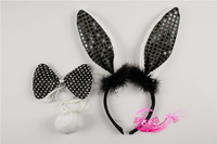 Cartoon child hair accessory child hair bands headband rabbit headband rabbit ears black paillette rabbit piece set