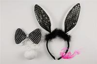 Cartoon child hair accessory child hair bands headband rabbit headband rabbit ears black paillette rabbit piece set