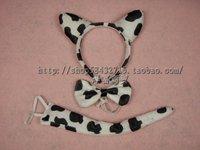 free shipping Cartoon headband hair bands child hair accessory piece set child hair bands animal piece set - - cow triangle set