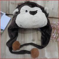 Free shipping lovely Cartoon Animal Hat black monkey Warm Cap Plush Hat