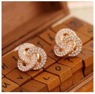 E002 Temperament simple super flash full rhinestone crystal rose ring earrings