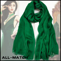 Fashion  momen's Jade green silk scarf ultra long mulberry silk scarf solid color olive green sun-shading female cape
