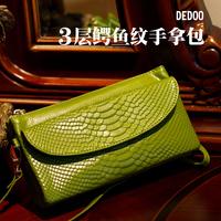 Crocodile pattern cowhide clutch dedoo new arrival 2013 women's genuine leather handbag cowhide women's bags day clutch