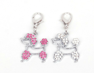 Free shipping wholesale 10pcs/lot Rhinestone dog pendant supplies, poodle pet collar accessory, pet jewelry pendant for necklace(China (Mainland))
