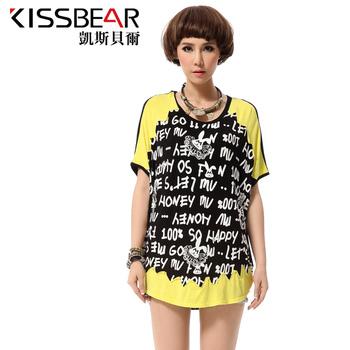 2013 women's o-neck fashion cute loose 100% letter cotton t-shirt