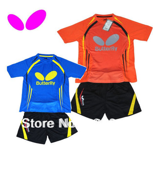 free shipping 2013 NEW Butterfly Child boy and girl Badminton / Table tennis  Shirt +shorts S.M.L