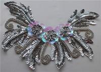 Golden sequin patches hair accessory handmade flower paillette beads applique trims gold silver