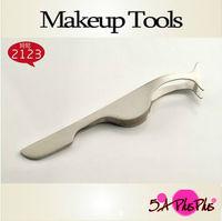 Free Shipping 10Pcs Wholesale Professional Nock Head Eyelashes Lash Tool Tweezer Clip Comfortable Handle Makeup With Retail Bag