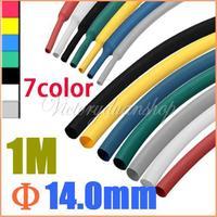 1M 14.0mm 2:1 Polyolefin Heat Shrink Tubing Sleeving Wrap 7pcs each color
