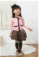 Baby girl Suit skirt Set 2pc 2013 Children Autumn Clothes Set Baby Girl Sweater Coat+ Skirt Casual Clothes Set 100-140cm