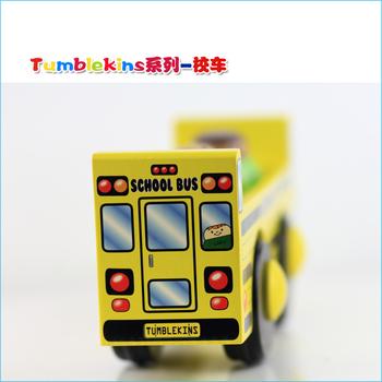 Toy car wooden car wool model bus toy school bus