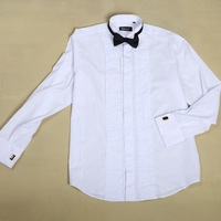 Free Shipping 2013 Fashion brand polo men Tuxedo Slim Men`s shirt Cotton White Dress shirts with bow ties and the cuff-link