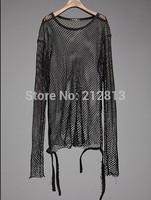 Free Shipping 2014 fashion new mens costume fishing net t shirt long sleeve t shirts