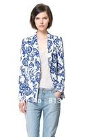 Free Shipping 2013 Women's  Blue and white porcelain  Pattern One-Button Slim fit  Casual  Blazers Coat  Ladies Outerwear