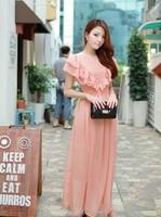 Women cute ruffles short sleeves waist string dot pattern tiered  back zipper chiffon  long dress free shipping D302-8182