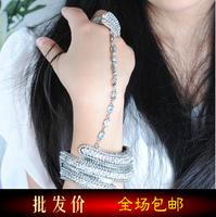 Vintage punk multi-colored diamond hand ring bracelet one piece Women hot-selling jewelry
