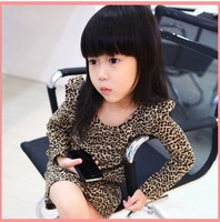Wholesale Spring/Autumn 100-140cm children/kid/ Girls Classic Leopard Print Cotton Long Sleeve One-Piece Dresses,5pcs/lot, 3958s