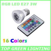 2PCS Color Changing Remote Control RGB E27 3W LED Spot Light Bulb 16 Colors Telecomando Control Remoto E27 LED RGB 3W