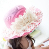 tz034-1 wholesale 6pcs 22color suitable for 6-10years old 54cm Girl straw hat lace flower princess sunshade children's beach hat
