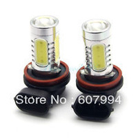 Free shipping 7.5w h11  Super Bright SMD H11 Car LED White Day Driving Fog Light Lamp Bulb 1 pair /lot