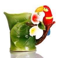 250ml animal parrot ceramic coffee tea cup set high-grade mugs enjoy leisure time wedding holiday gift decoration