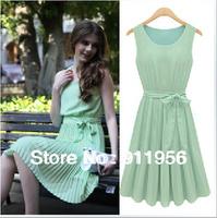 Fashion Arrival Green Women's Elegance Round Collar Sleeveless Pleated Vest Chiffon Dress free shipping #220