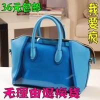 Summer jelly 2013 picture candy color female cross-body beach bag transparent one shoulder bag handbag