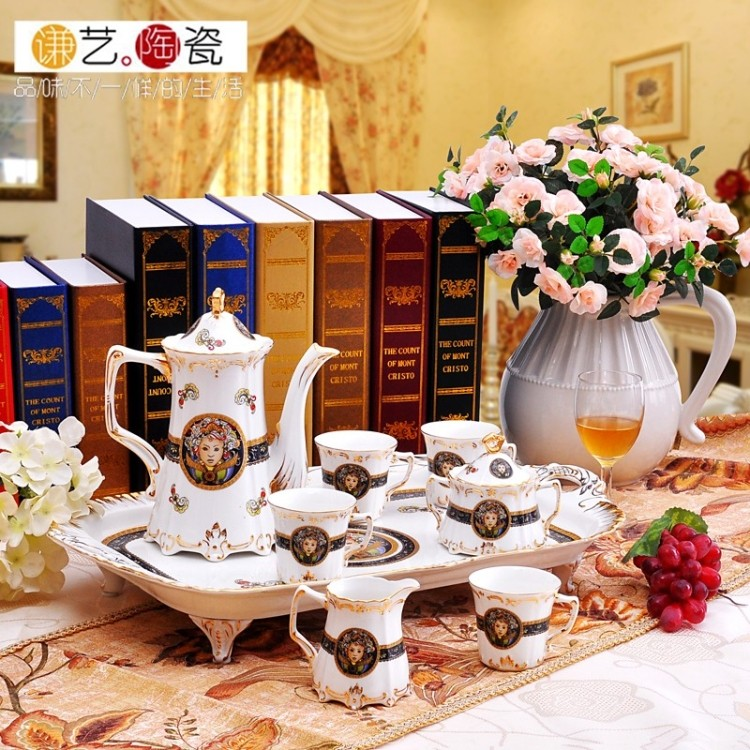 Quality gold ceramic tea set fashion ivory porcelain coffee decoration wedding gift(China (Mainland))