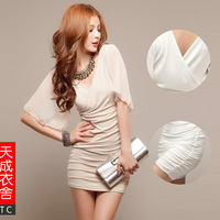 2013 women's spring sexy fashion chiffon sleeve racerback slim hip sexy one-piece dress