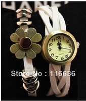 10 pcs  Brooch Leather Bracelet Wristwatch Women dress watches Bronze flower sunflower  Retro Vintage Korean watches LOT