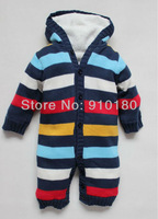 Free shipping 3pcs/lot brand baby overalls for winter infant striped romper thick fleece warm romper/jumpsuit thick cotton knit
