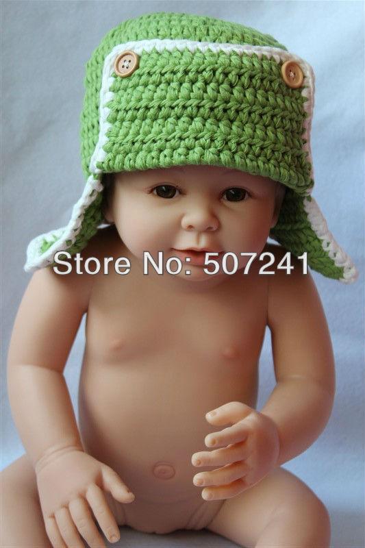 Cute Gorgeous Baby Child Green Pilot Crochet Cotton Earmuffs Hat Beanie Newborn To 3 Year Handmade Photo Prop Free Shipping(China (Mainland))