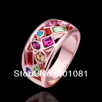 Multi Color Famous Brand Sparking Crystal Finger Ring 18K Rose Gold Plated Stamp 18KRGP, Unique Brand Rings For Women 18k250