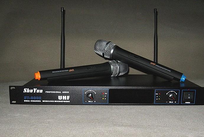 New MIC Audio 2x100 Ch UHF Wireless Hand Held Microphone Mic System UHF SY-8800 740-840MHz(China (Mainland))