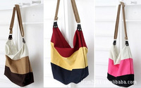 New arrival Fashion women's casual handbag shoulder bag 3colors stripe patchwork canvas bag messenger bag Fast shipping B0381