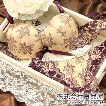 Fashion satin luxury lace bra charm shine set push up single breasted women's underwear