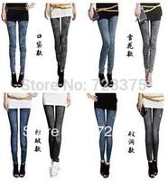 2014 Korea brand New women Snow flakes hole pocket folds fake graffiti seamless printed stretch pencil pants Denim girl Leggings