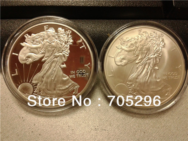 Non-magnetic Upside down eagle coin Matte effects & mirror effcts silver Coin 100pcs/lot free shipping MIX 2 design welcomed(China (Mainland))