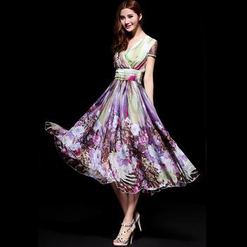 Free shipping 2013 summer purple flower high quality fabric medium-long women's one-piece dress maxi dress