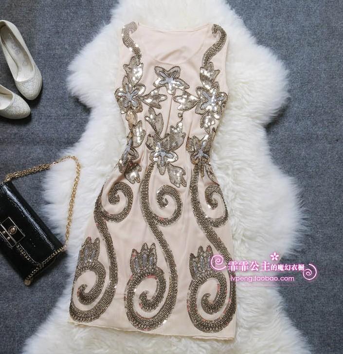 2013 elegant slim one-piece dress star fashion embroidery paillette plus size one-piece dress(China (Mainland))