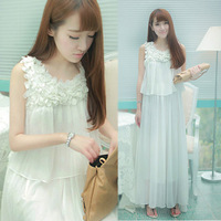 2013 summer women one-piece dress bohemia chiffon skirt full dress beach dress tank dress free shipping