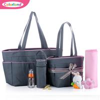 Free shipping 3colors 5pcs/set  fashion multifunctional nappy bag large capacity  portable maternal and child bag big Small