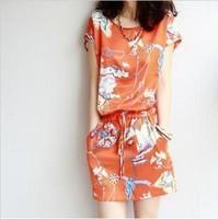 2013 summer ladies elegant organza o-neck ol slim chiffon belt set one-piece dress