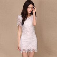 2013 fashion ol elegant slim lace one-piece dress short-sleeve organza embroidered one-piece dress