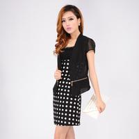2013 ol women's elegant dot slim chiffon short-sleeve twinset one-piece dress