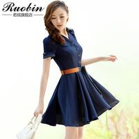 R118 2013 women's ol plus size gentlewomen elegant chiffon one-piece dress