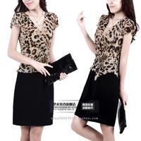 2013 women's leopard print faux two piece OL outfit elegant short-sleeve dress plus size available