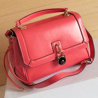 Fashion new arrival lockbutton casual all-match ol work bag cowhide women's handbag messenger bag