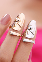 Free Shipping, new 2013 Fashion PUNK Rabbit Adjustable Nail Rings Finger Ring women jewellery, 12pcs/lot, Gold/silver colors